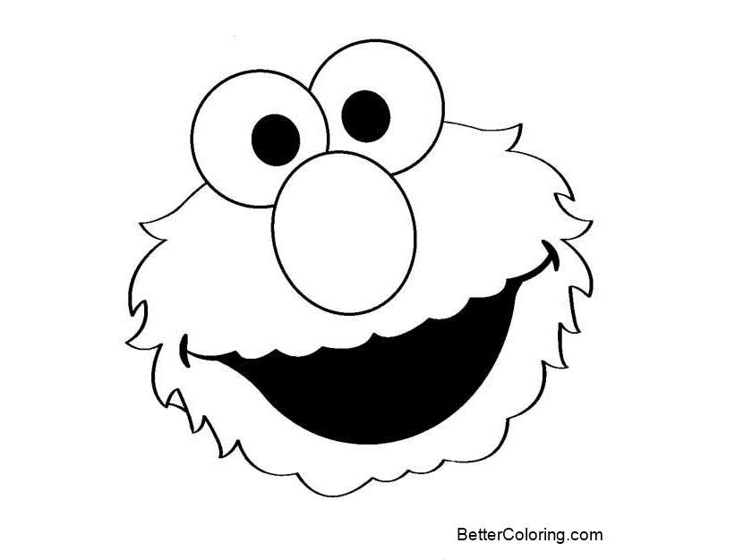 Elmo Face Coloring Pages Simple For Preschool Free