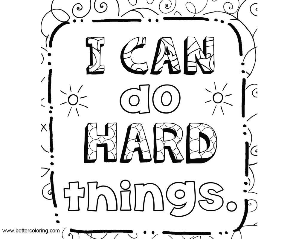 Growth Mindset Coloring Pages I Can Do Hard Things