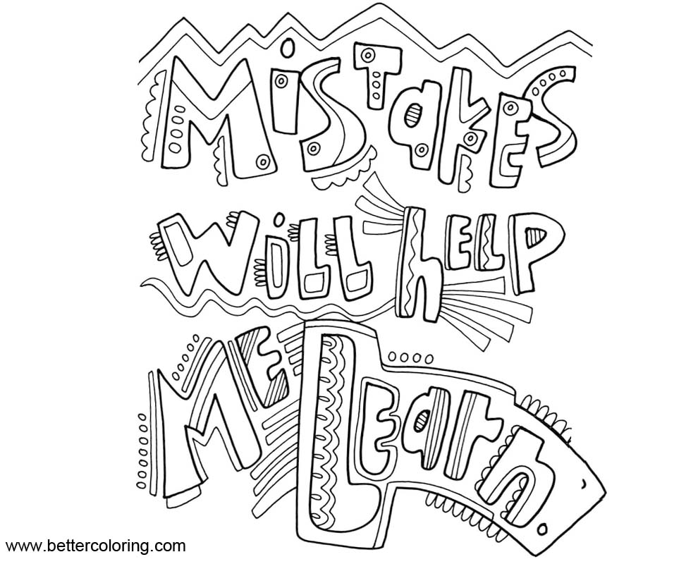 Growth Mindset Coloring Pages Mistakes