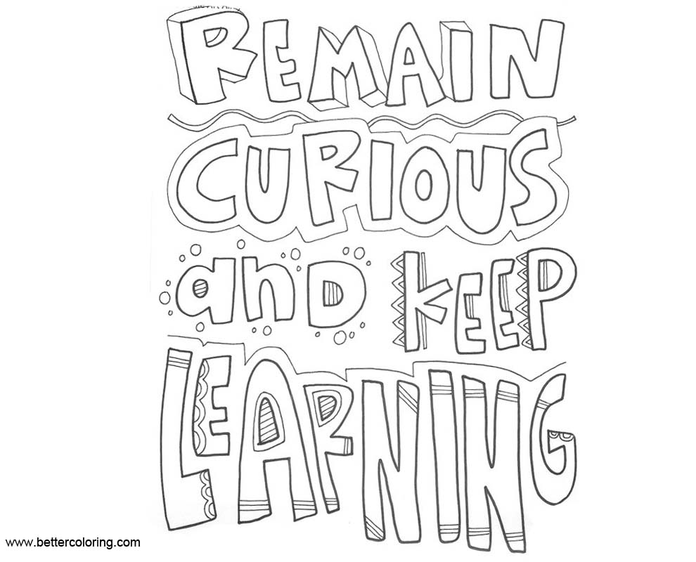 Free Growth Mindset Coloring Pages Remain Curious And Keep Learning printable