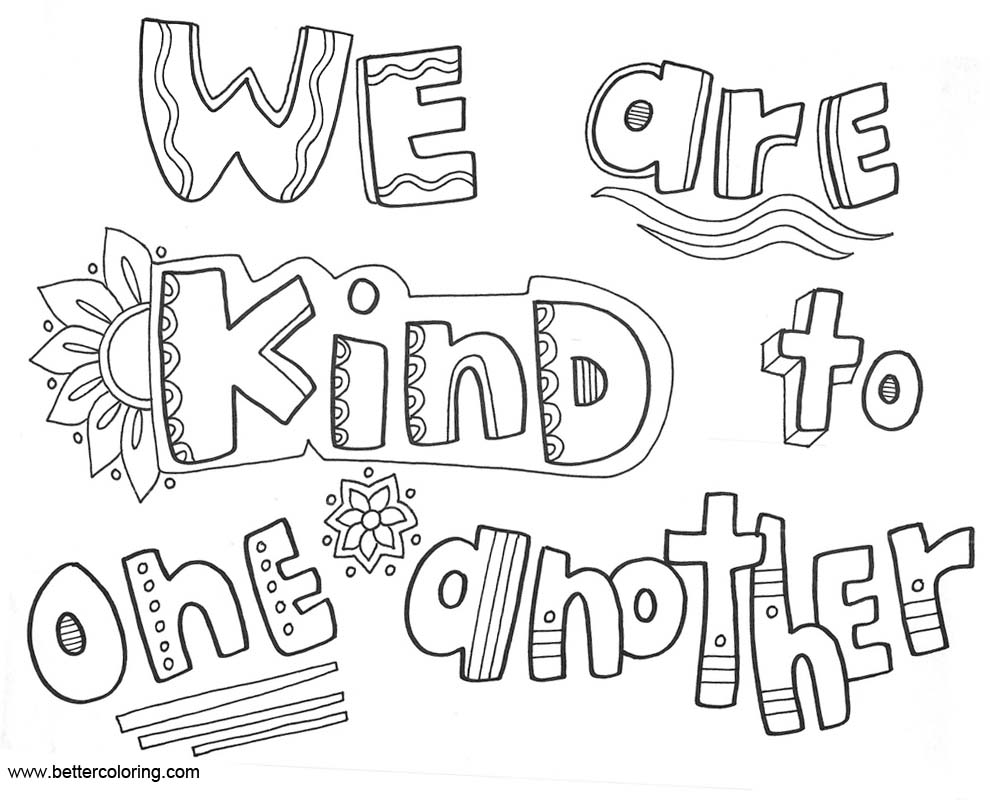 Free Growth Mindset Coloring Pages We Are Kind To One Another printable