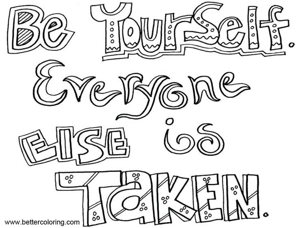Free Growth Mindset Quotes Coloring Pages Be Yourself printable