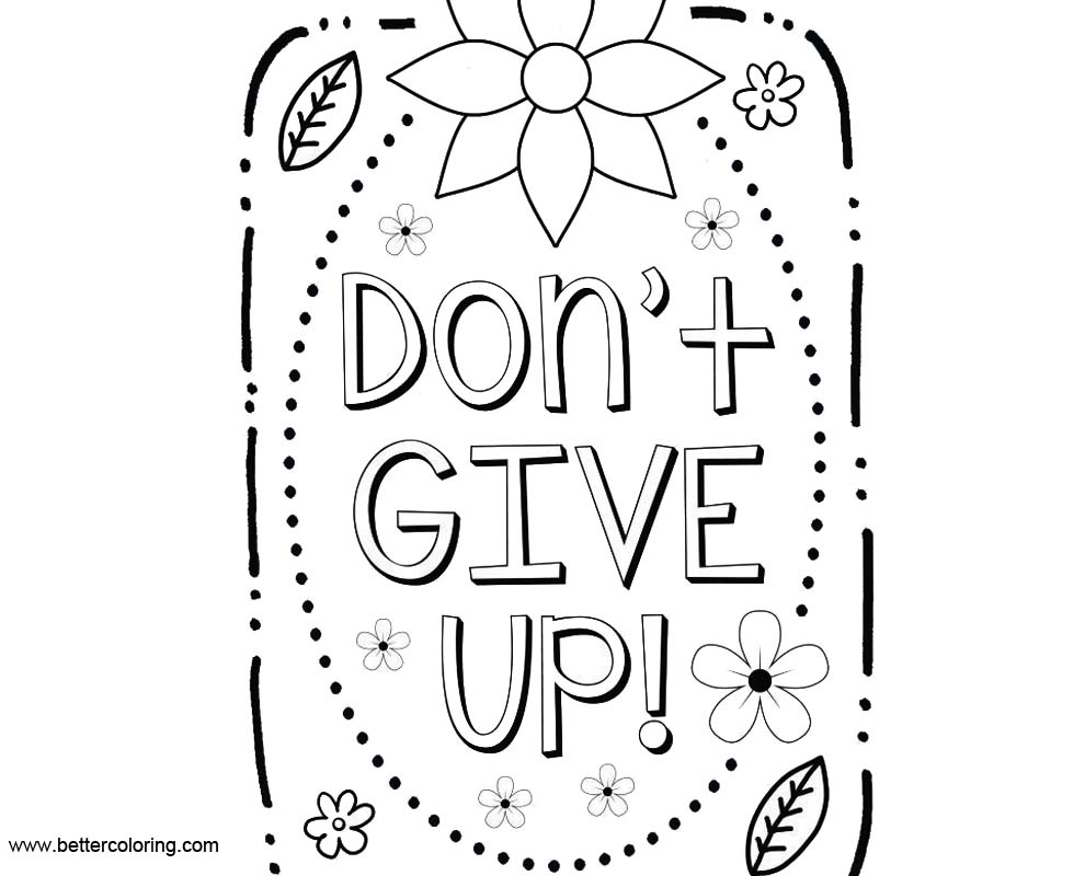 Free Growth Mindset Quotes Coloring Pages Dont Give Up printable
