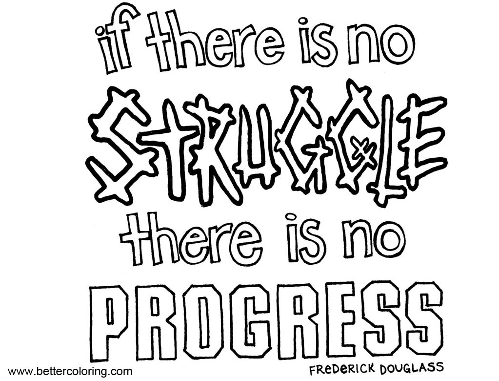 Growth Mindset Quotes Coloring Pages No Struggle No Progress Free