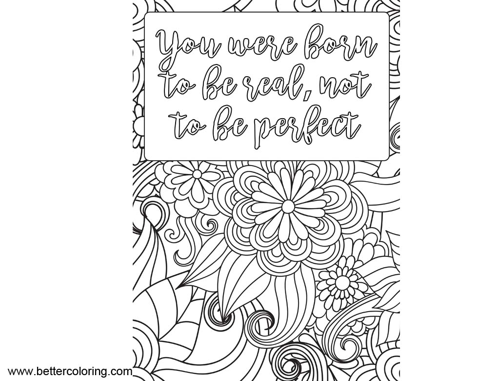 Free Growth Mindset Quotes Coloring Pages You Are Born to Be Real printable