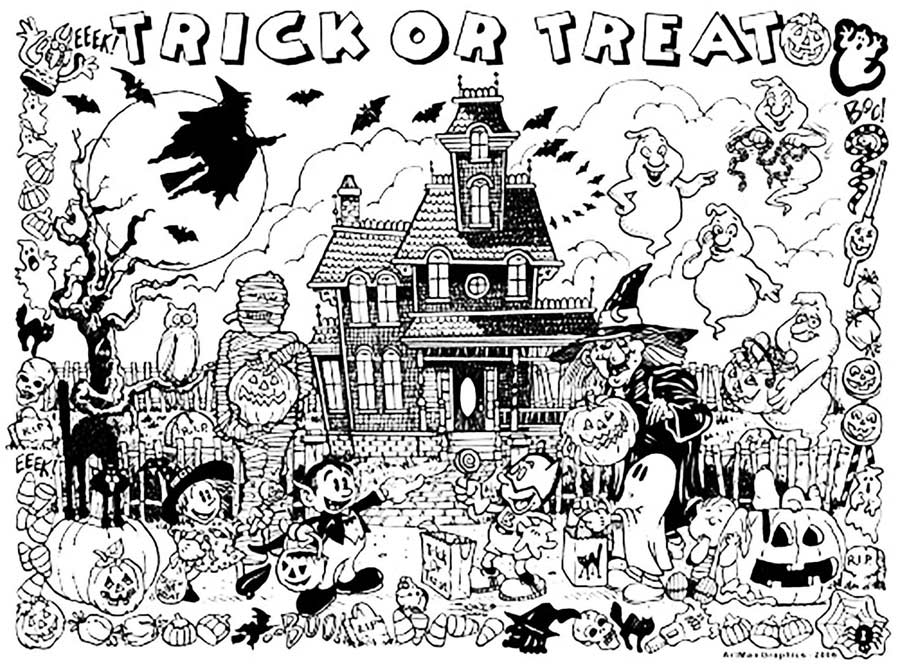 Coloring Fun Halloween Haunted House Pages 98: Haunted House Coloring Pages Black And White