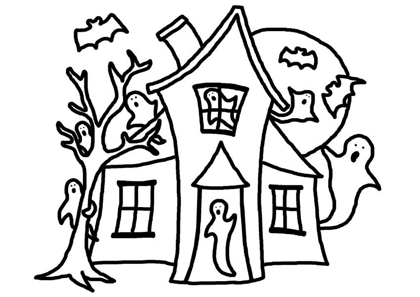 Desenho De Casas Simples Para Colorir: Haunted House Coloring Pages Easy Drawing