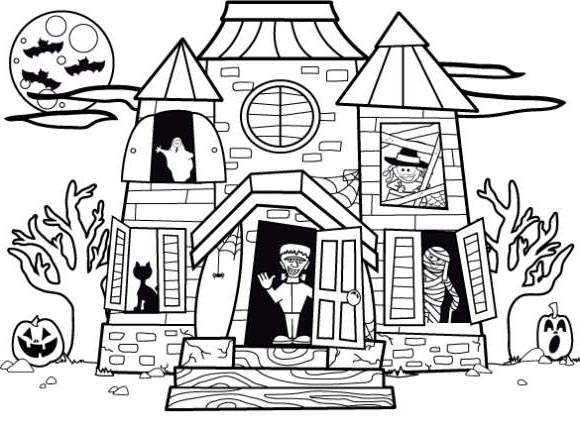 Free Haunted House Coloring Pages Halloween Pictures Printable For Kids And Adults