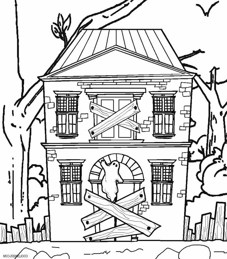 Free Haunted House Coloring Pages Hand Drawing printable