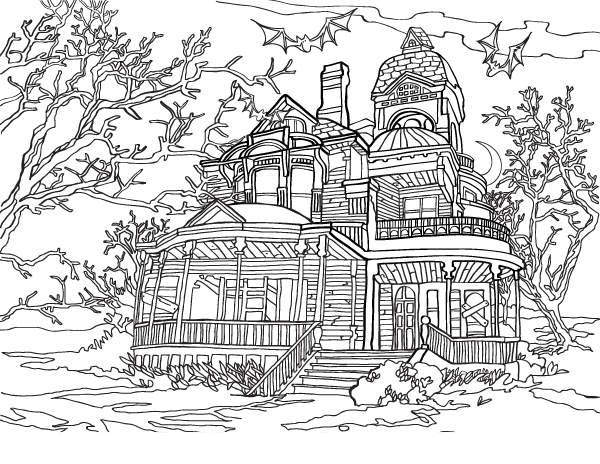Haunted House Coloring Pages For Adults Free Printable