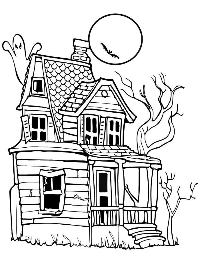 Haunted House Coloring Pages On Moon Night Free Printable Coloring