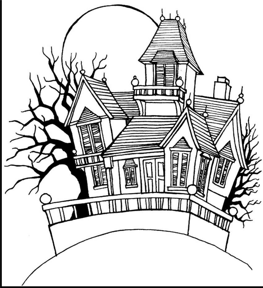 Haunted House Coloring Pages - Free Printable Coloring Pages