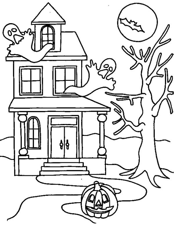 Free Haunted House From Halloween Coloring Pages Printable For Kids And Adults
