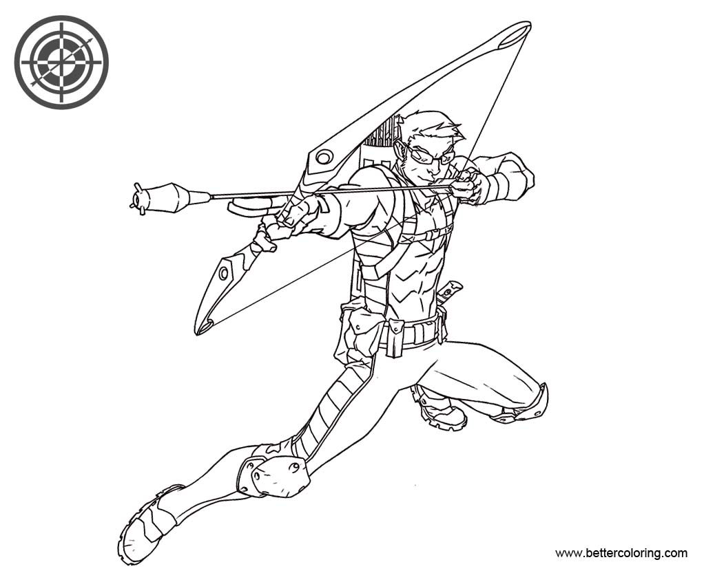Hawkeye Coloring Pages Line Drawing - Free Printable Coloring Pages