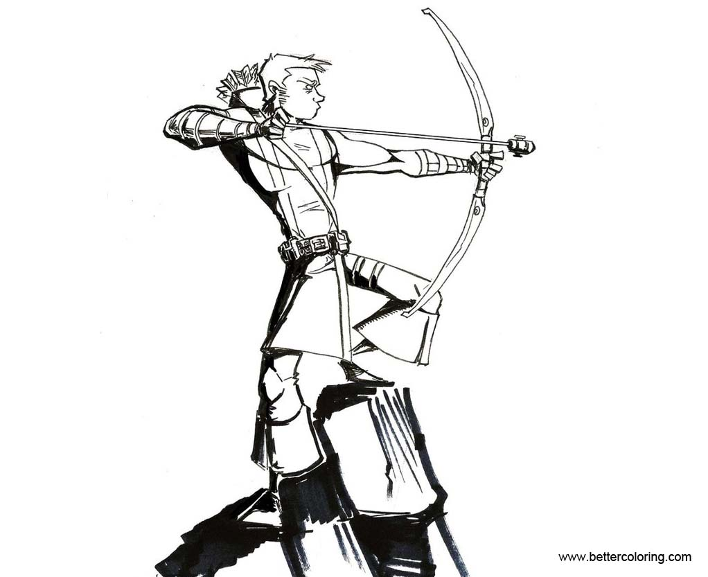 Free Hawkeye Coloring Pages Sketch by Honez printable