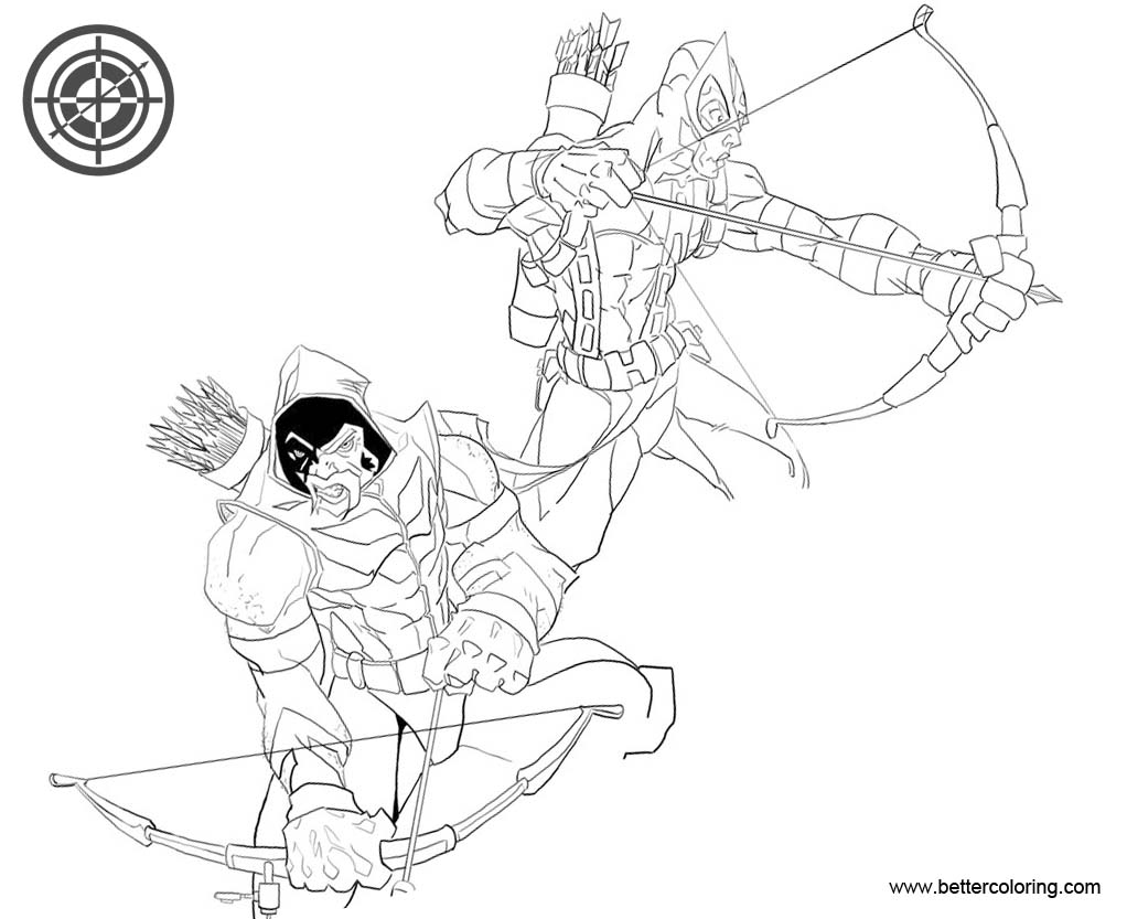 Hawkeye Coloring Pages with Green Arrow Free Printable