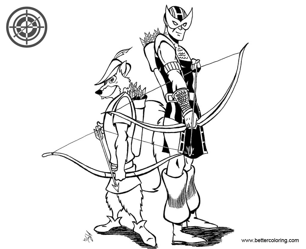 Free Hawkeye Coloring Pages With Robin Hood By Zombieg Printable For Kids And Adults