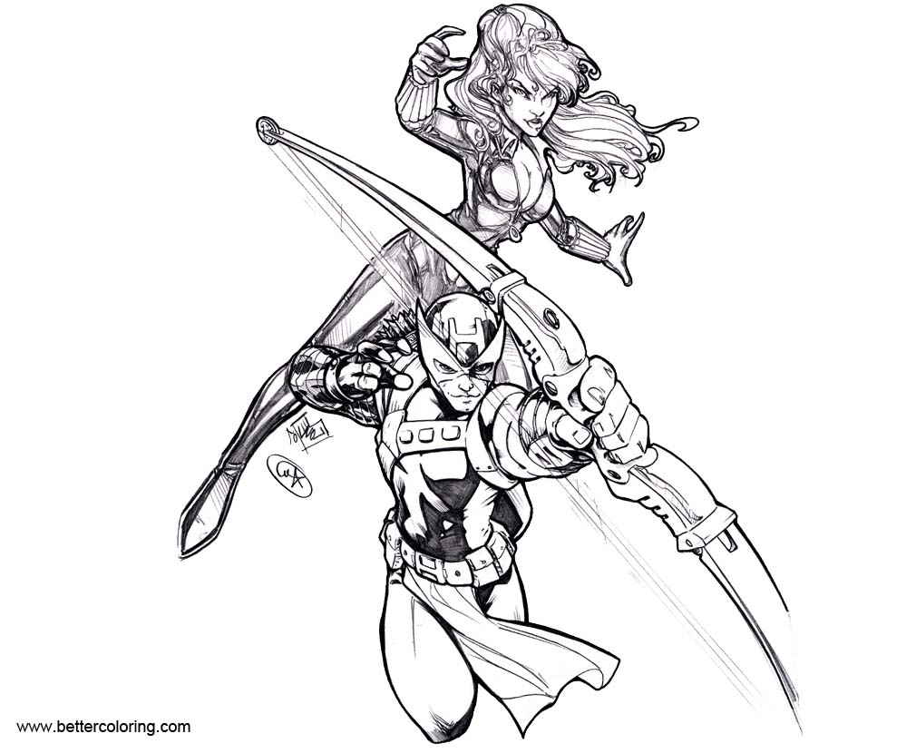 hawkeye and black widow coloring pages by adamwithers free