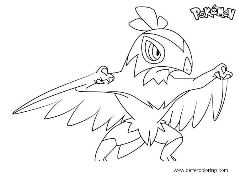 Free Hawlucha from Pokemon Coloring Pages printable