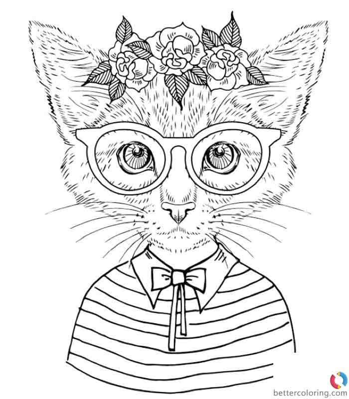 Free Hipster Coloring Pages Cat Girl printable