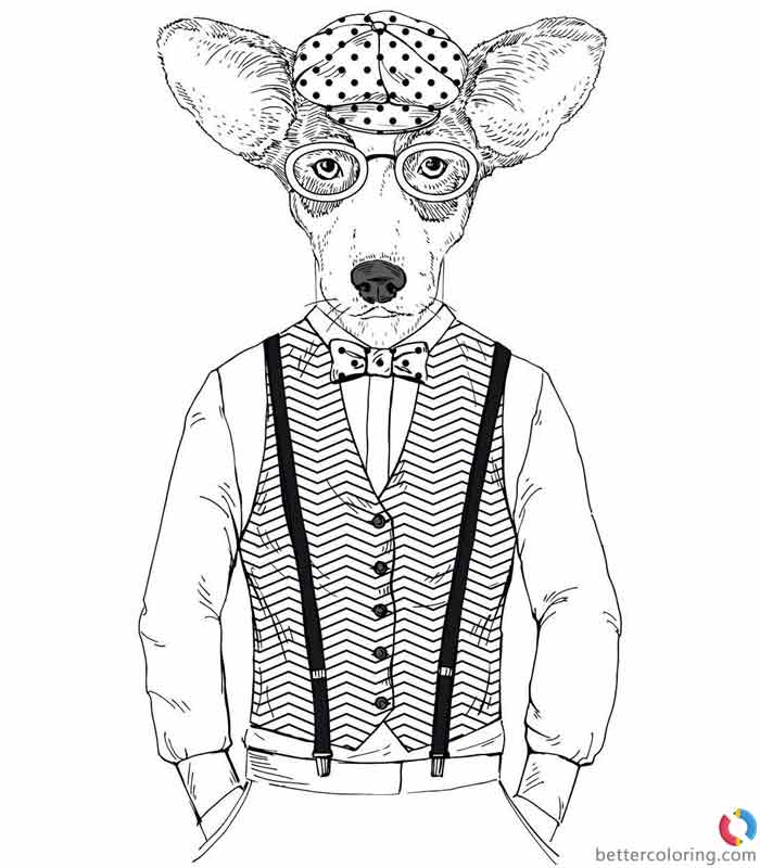 Hipster Coloring Pages Dog Man