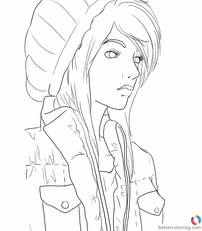 Hipster Coloring Pages Girl In Hat - Free Printable Coloring Pages