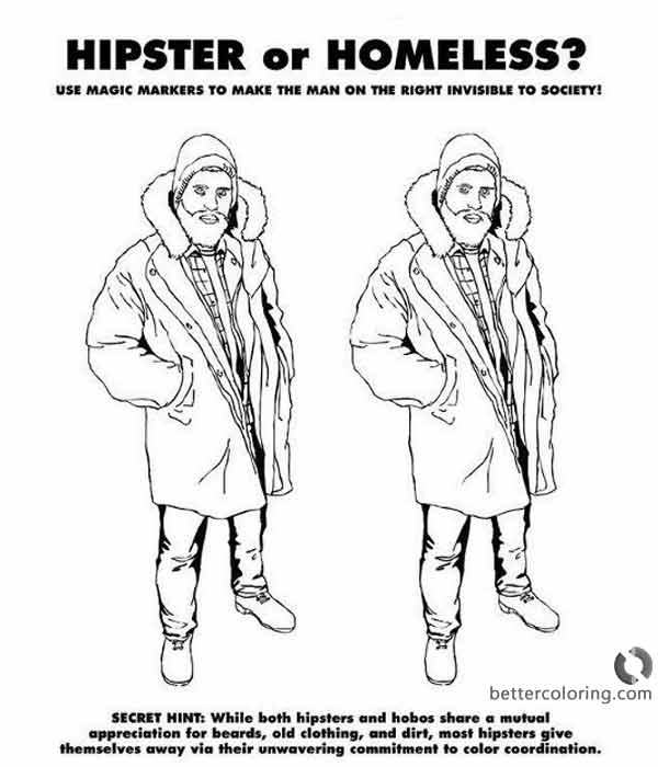Free Hipster Coloring Pages Hipster or Homeless printable
