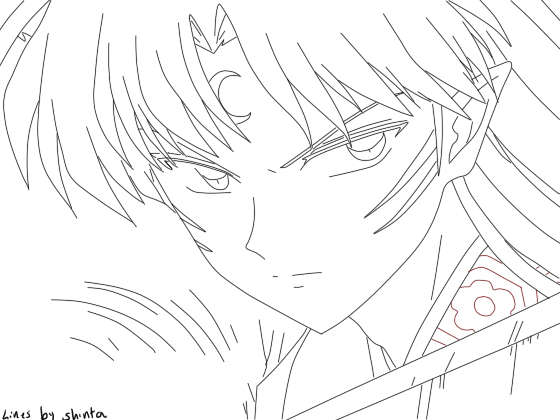 Free InuYasha Coloring Pages Angry Sesshomaru by Shinta Inu printable