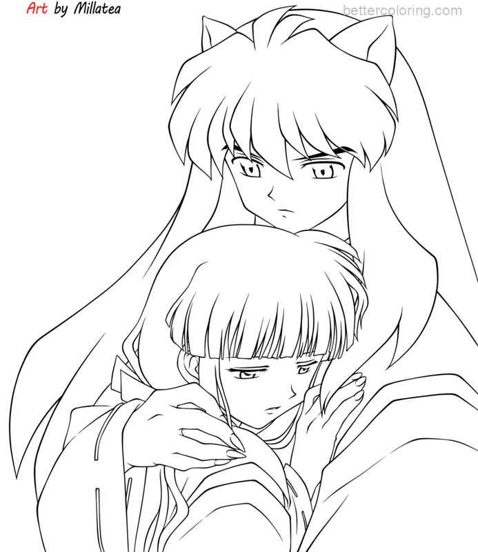 Free InuYasha Coloring Pages Inuyasha and Kikyo by MiLLaTea printable