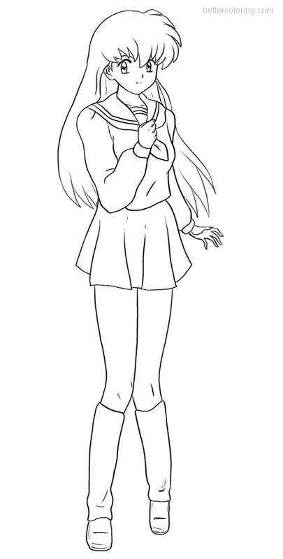 Free InuYasha Coloring Pages Kagome printable