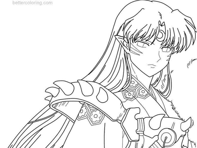 Free InuYasha Coloring Pages Sesshomaru Line Art by ShoushiKaito printable