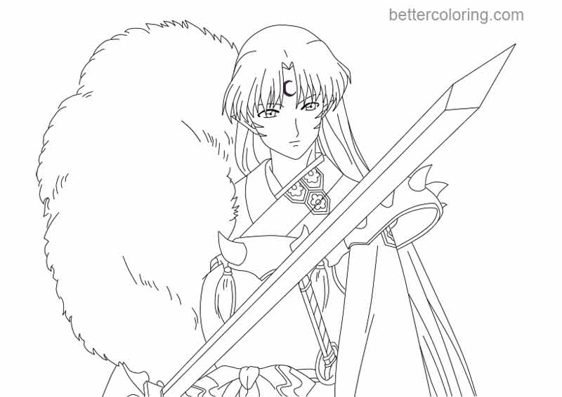 Free InuYasha Coloring Pages Sesshomaru Lineart by soul612 printable