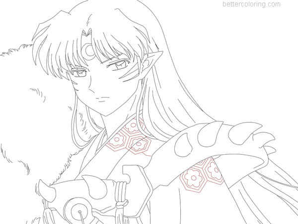 Free InuYasha Coloring Pages Sesshomaru by ShintaInu printable