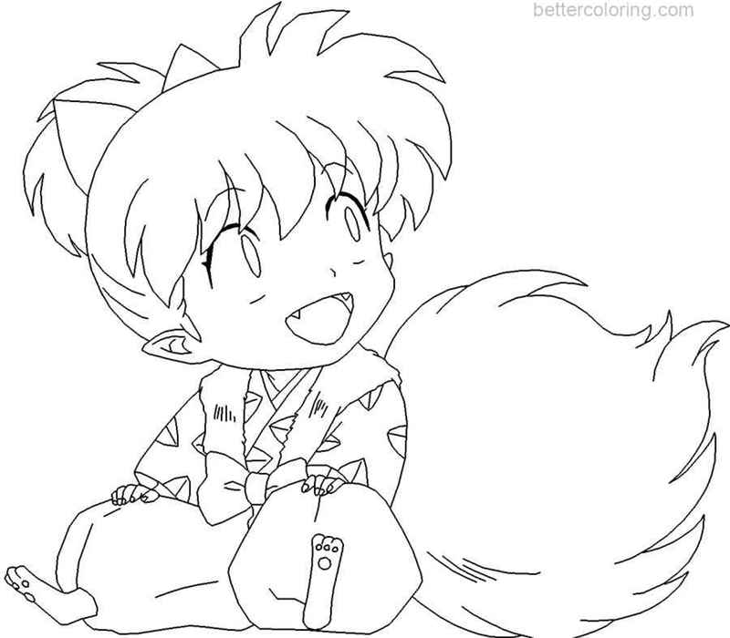 Free InuYasha Coloring Pages Shippo by xxmakinaashadoxx printable