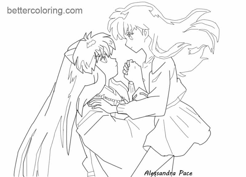 Free InuYasha Coloring Pages kagome by almachiaraalex printable