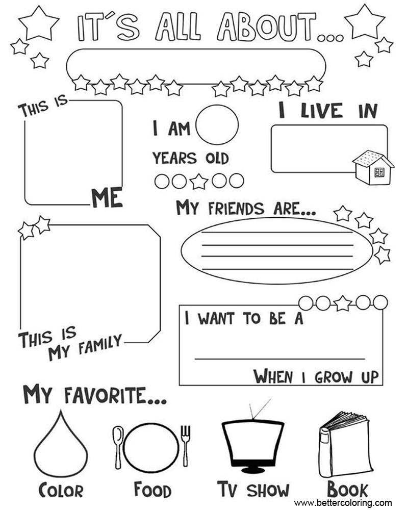 Free It's All About ME Coloring Pages Worksheets printable