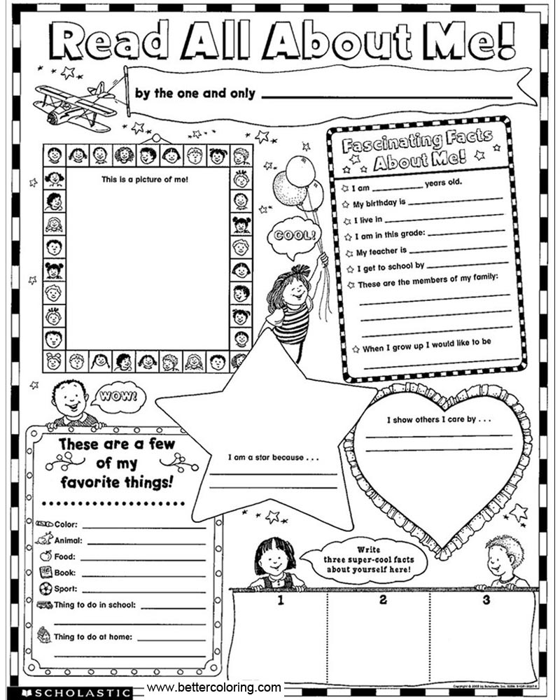 Kids All About Me Coloring Pages Worksheets Free Printable