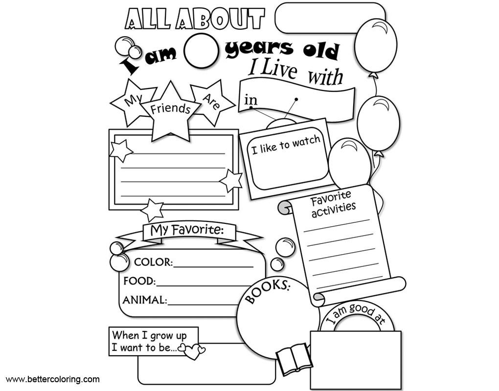 Free Kids All About ME Coloring Pages printable