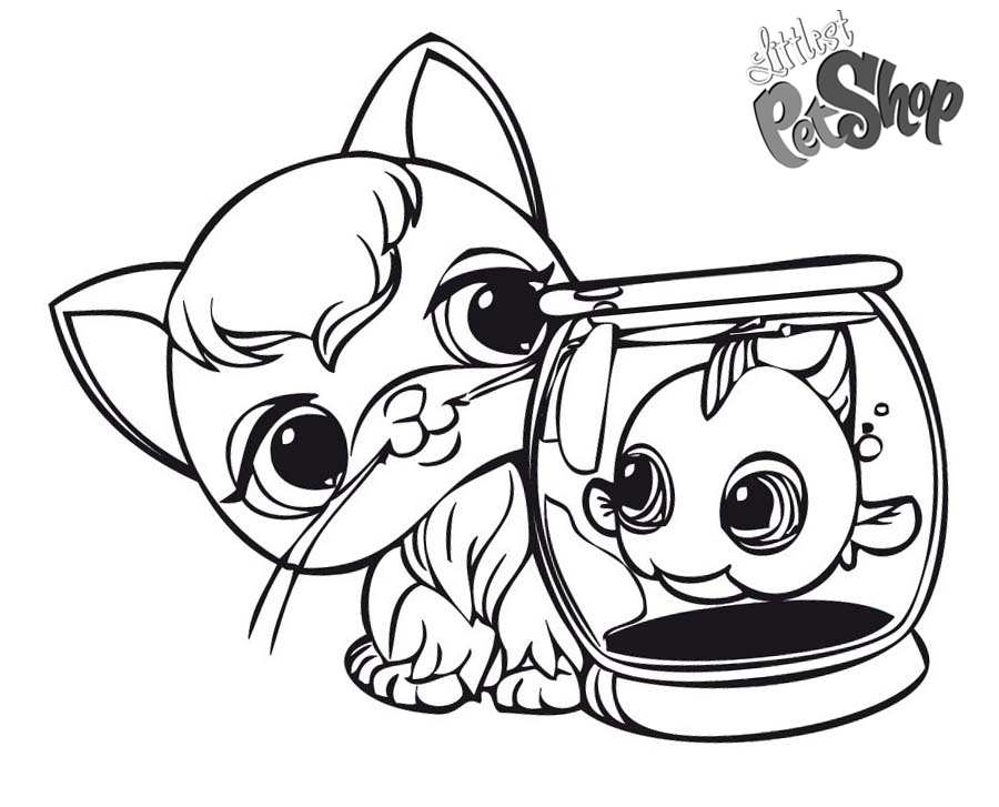 Free Littlest Pet Shop Coloring Pages Cat and Fish printable