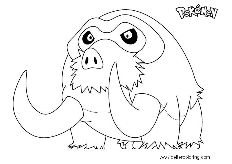 Free Mamoswine from Pokemon Coloring Pages printable