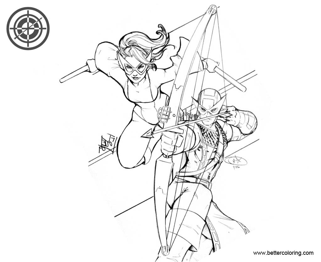 Marvel Hawkeye Coloring Pages with Superhero Mockingbird - Free ...