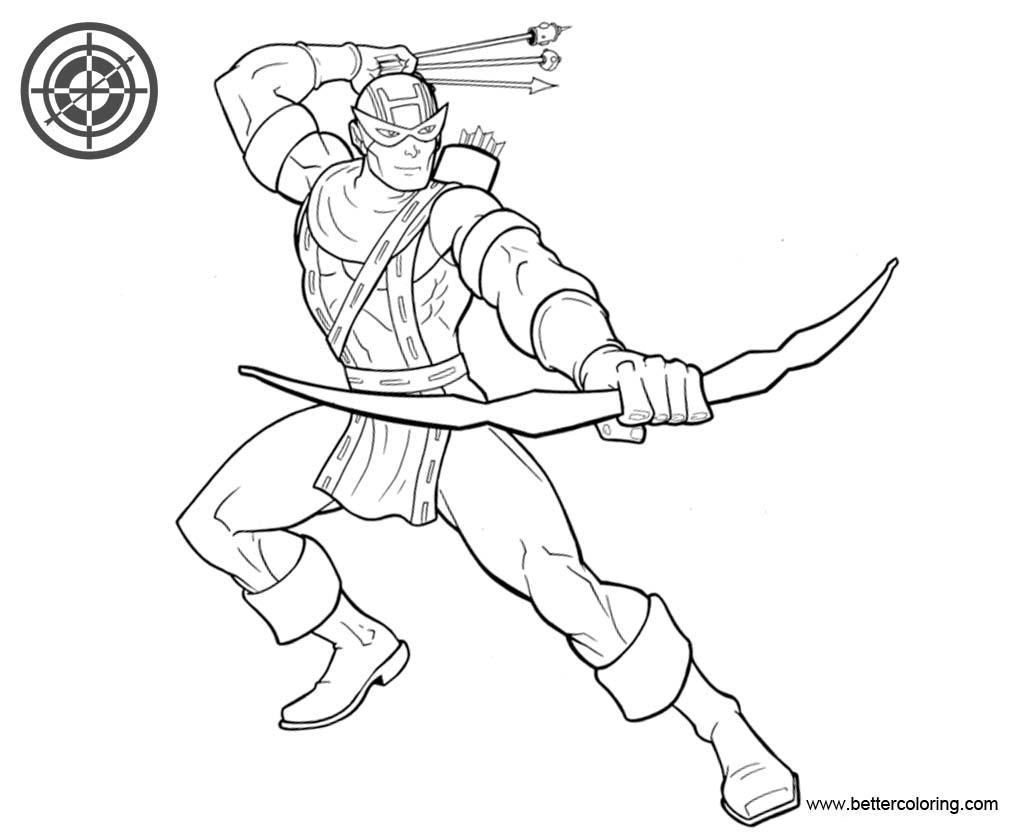 Marvel Superhero Hawkeye Coloring Pages Free Printable