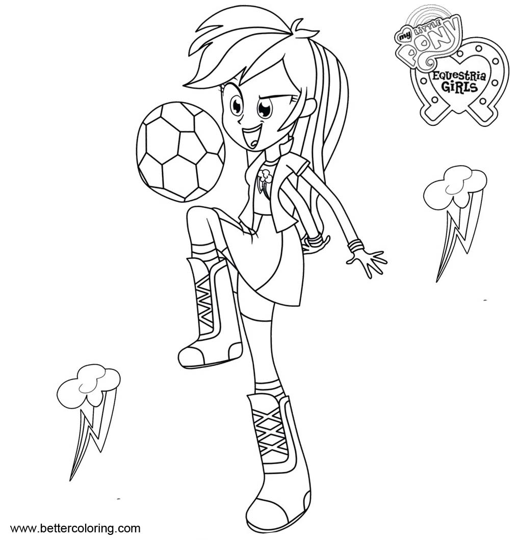 Free My Little Pony Equestria Girls Coloring Pages Rainbow Dash with Football printable