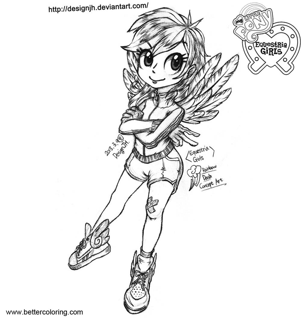 My Little Pony Equestria Girls Coloring Pages Rainbow Dash - Free ...