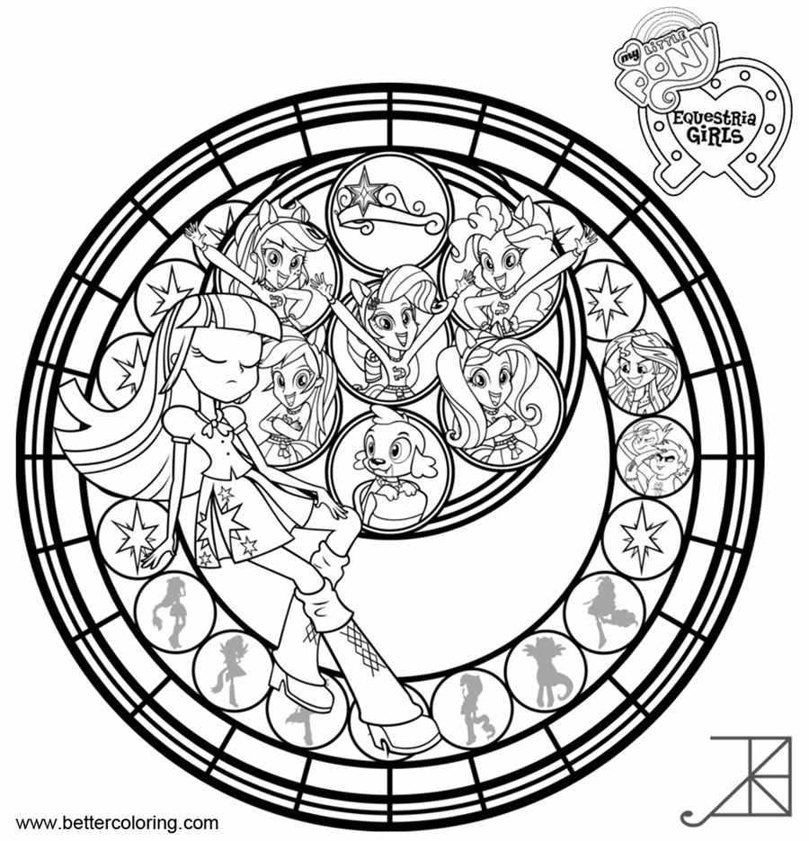 Free My Little Pony Equestria Girls Coloring Pages Stained Glass Template printable