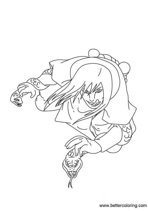 Naruto Coloring Pages Orochimaru Free Printable Coloring