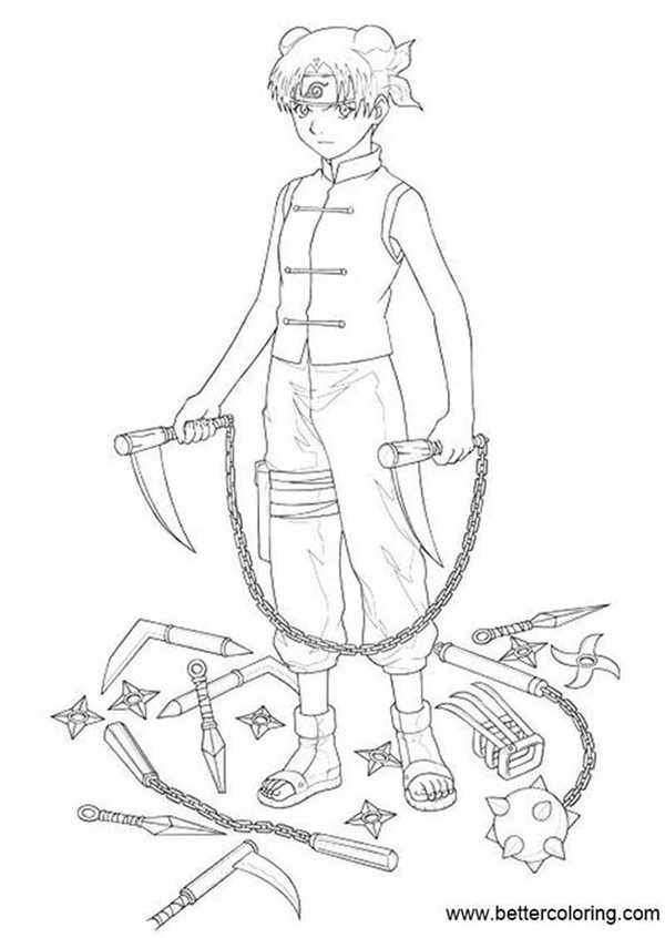 Free Naruto Coloring Pages Tenten Ready to Fight printable