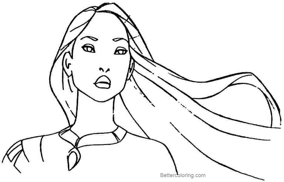 Free Pocahontas Coloring Pages Lineart printable