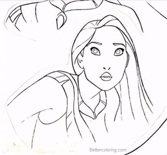 Free Pocahontas Coloring Pages Sketch Picture printable