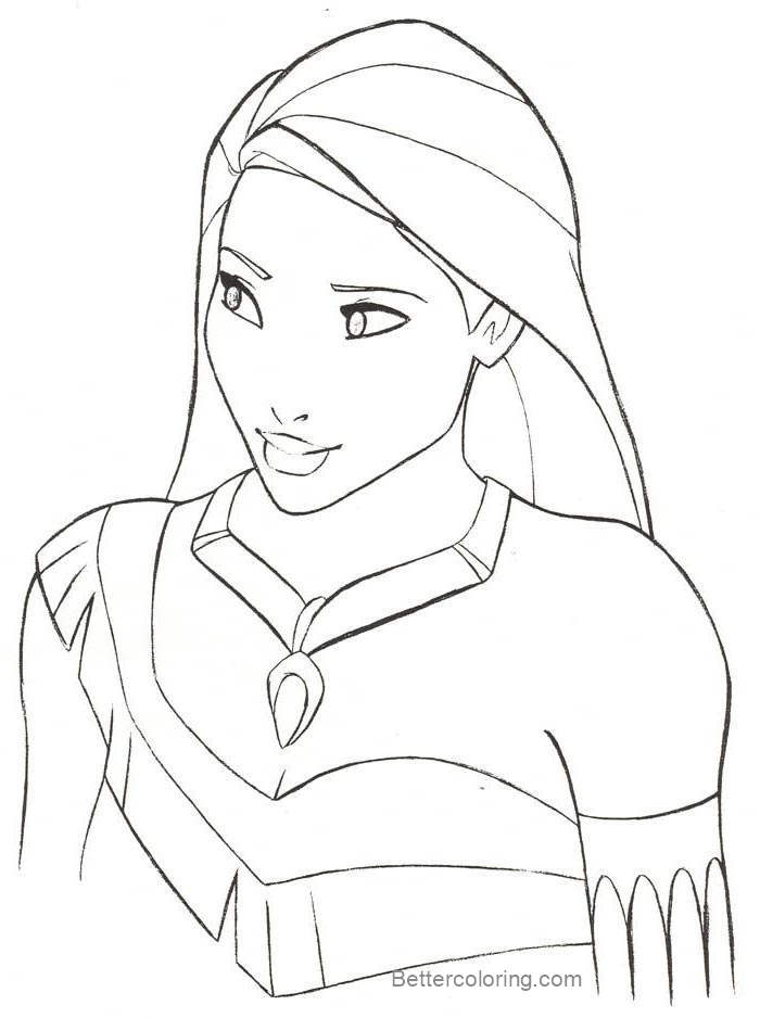 Free Pocahontas Drawing Coloring Pages printable